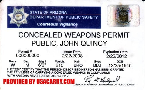 Arizona Concealed Carry Permit Information, Concealed Weapon