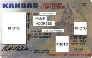 Kansas Concealed Carry License Example