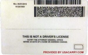 Kansas Concealed Carry License Back Example