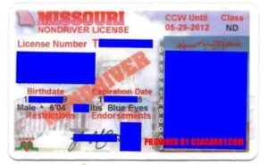 Missouri Concealed Weapons Permit