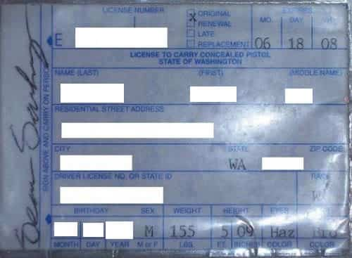 Washington concealed carry permit information for Washington non resident fishing license
