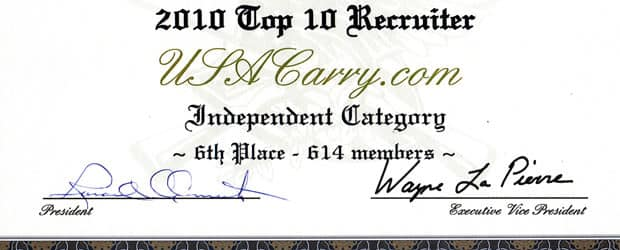 USA Carry Ranked NRA's #6 Independent Recruiter in 2010