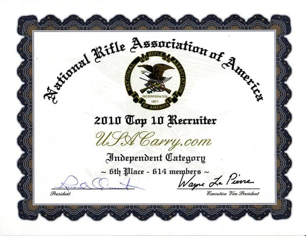 USA Carry Top 10 NRA Recruiter in 2010