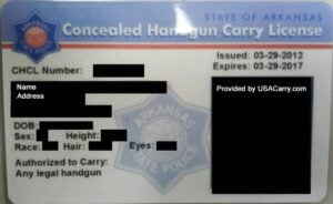 Arkansas Concealed Handgun Carry License
