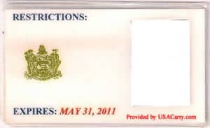 Delaware Concealed Carry Permit Front