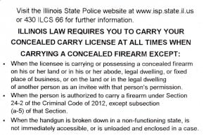 Illinois Concealed Carry Permit License Back