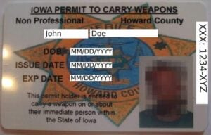 Iowa Non-Professional Weapon Permit Front