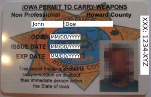 Iowa Non-Professional Weapon Permit Front