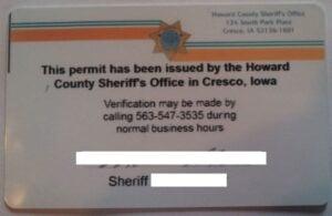 Iowa Non-Professional Weapon Permit Back