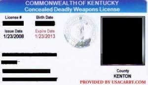 Kentucky CCDW License Example