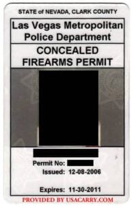 Nevada Concealed Carry Permit Front (Las Vegas)