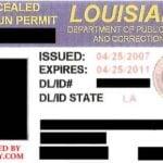 Louisiana Concealed Handgun Permit Front