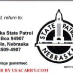 Nebraska Concealed Carry Permit Back