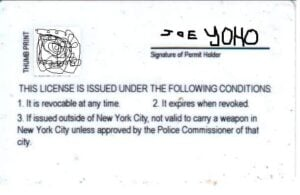 New York Concealed Carry Permit Back