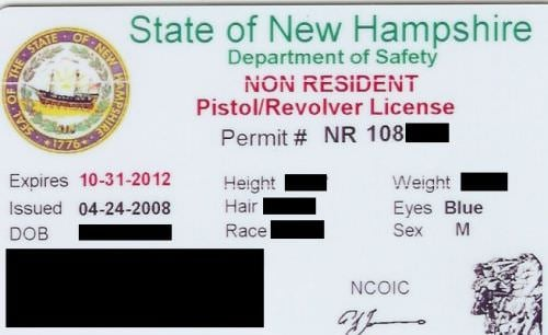 New Hampshire Non-Resident Concealed Carry Permit Front