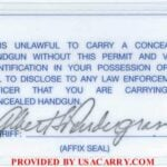 North Carolina Concealed Carry Permit Back