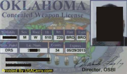 Oklahoma Concealed Carry Permit Front