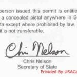 South Dakota Concealed Carry Permit Back