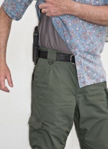 Note how close the Raven Concealment holster sits to the body. This holster is rock solid.