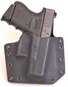Note the width of the holster in this front view. The width helps provide stability.