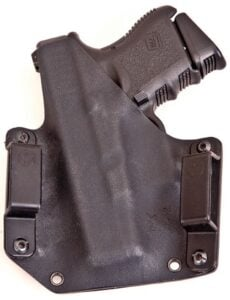 Rear view of the Raven Concealment Phantom holster with a G26 Third Generation Glock.