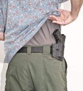 """The holster is very comfortable at the 3:30-4:00 position. Note the Reyn Spooner shirt. I call this the """"Tactical Hawaiian"""" look. It works for me."""