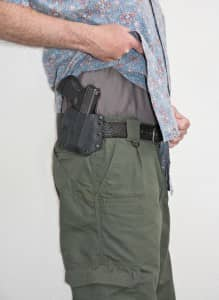 Raven Concealment's Phantom is comfortable for extended periods. Note the high rise of the holster.