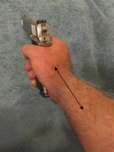 STRAIGHT ALIGNMENT from Locked Wrist to Radius of Forearm