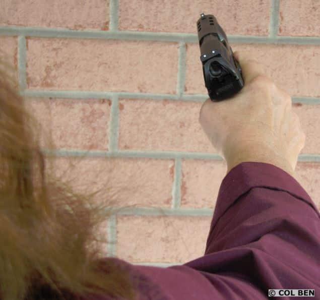 Handgun Canted to 20-30 Degree Angle