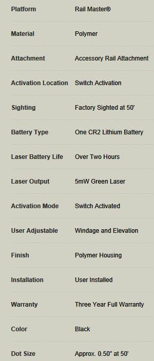 Crimson Trace Laser Sight-CMR-203-SPECS