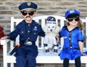 Kids Playing Cops and Bad Guy (Dog)