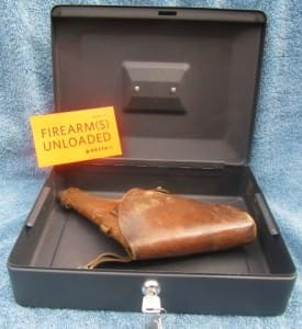Metal Lockable Box with Pistol, Holster and Signed Airlines Form