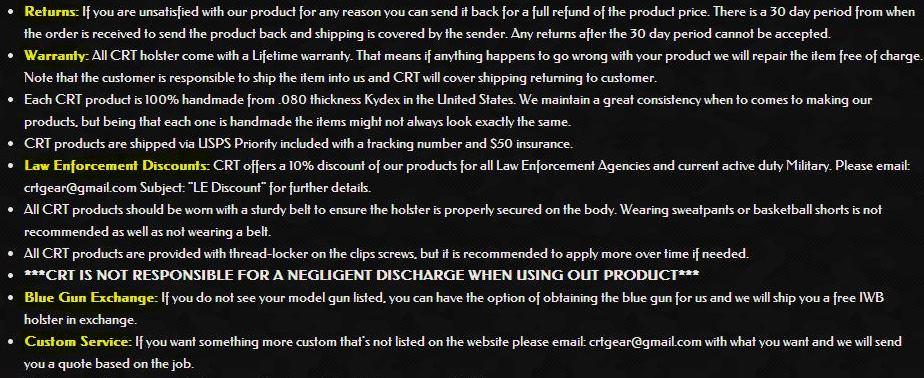 CRT Website: Warranty, Returns, Discounts, Exchange, and Custom Service