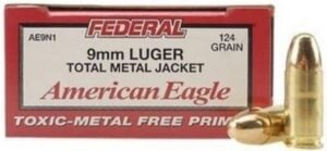 Toxic-Metal Free Primers-Federal American Eagle TMJ 9mm 124 grain