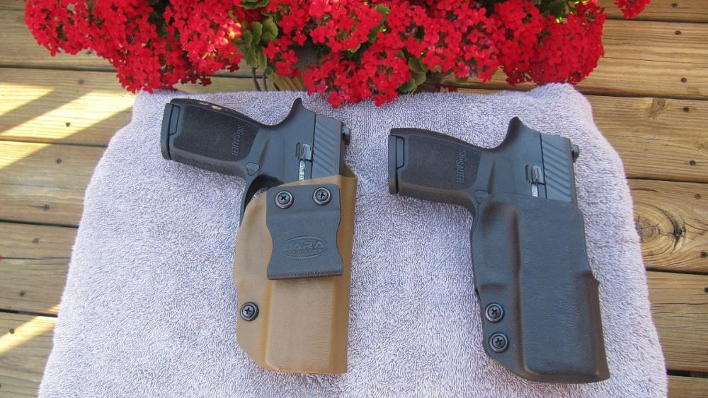 Dara Holsters' IWB (left) and OWB (right) Holsters with Sig P320 Pistols