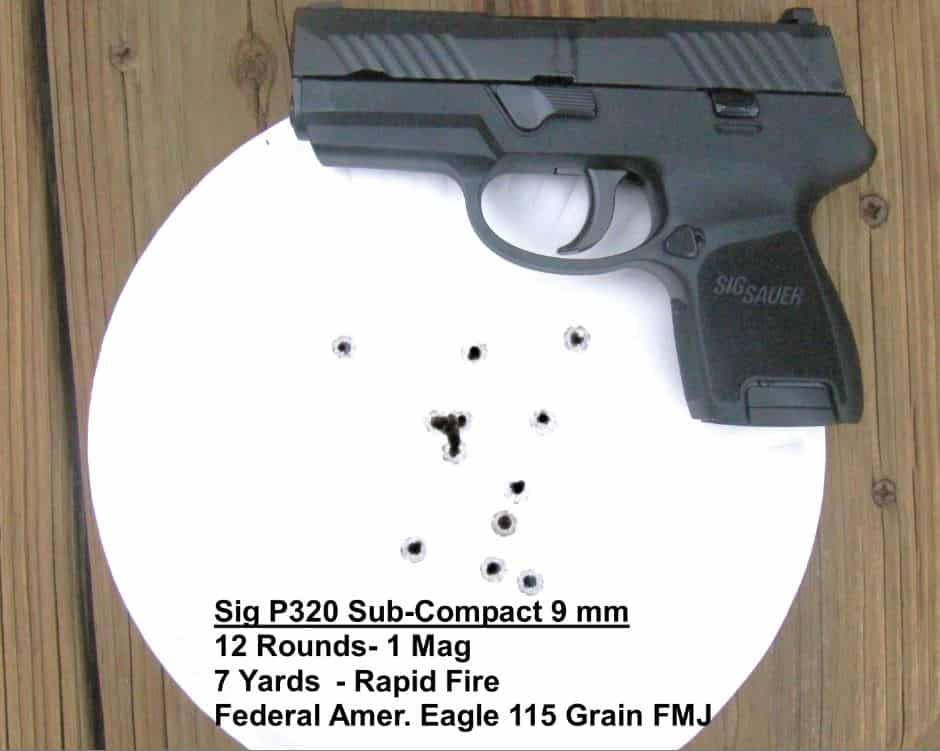 Sig P320 Sub-Compact 9mm - 12 Rounds - 1 Mag - 7 Yards - Rapid Fire