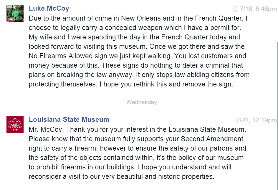 Louisiana State Museum - No Firearms