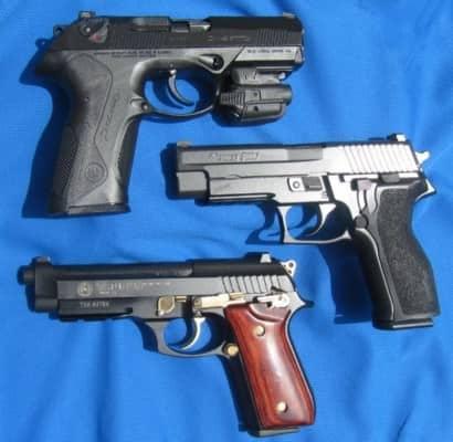 DA/SA: Beretta PX4 Storm .40 ; Sig P226 9mm; Taurus PT92 9mm