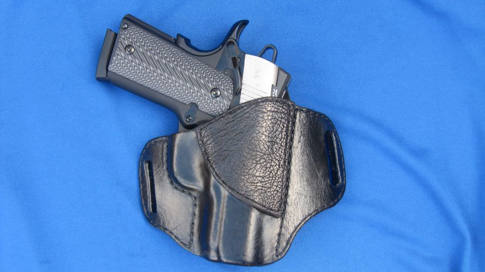 1911 Enhanced Micro Pistol (EMP) in 9mm with G-10 Grips in Custom Holster