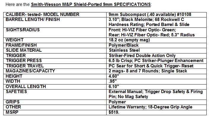 Smith & Wesson M7P Shield - Ported 9mm Specifications