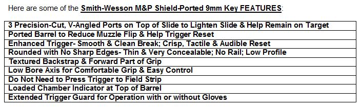 Smith & Wesson Shield - Ported 9mm Key Features