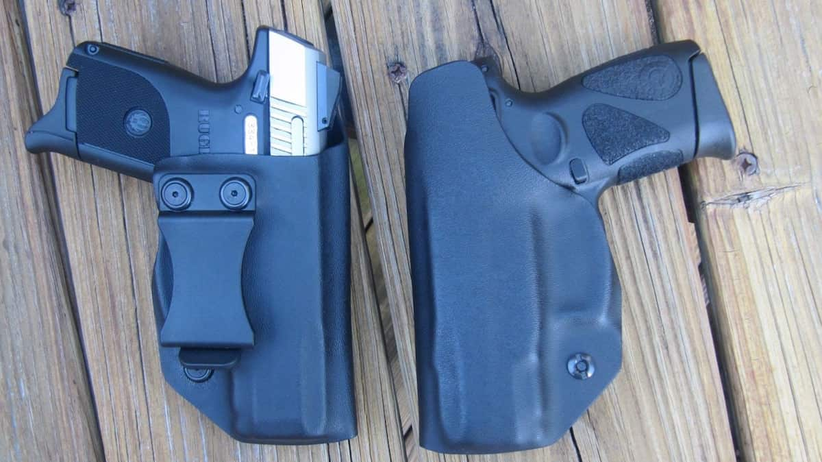 Clinger Stingray Clip-On Kydex Holsters (backside on left high ride with SR9C & front on right low ride with Taurus G2)