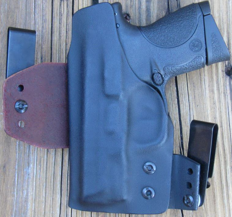 Clinger NPW IWB Hybrid Holster- backside with Sweat Shield & leather Flex Tab on left