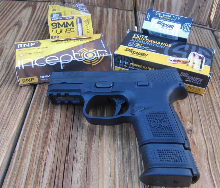 FNS-9C 9mm Pistol & Sig Sauer Elite Performance V-Crown JHP & Polycase Inceptor RNP Polymer Frangible Ammo