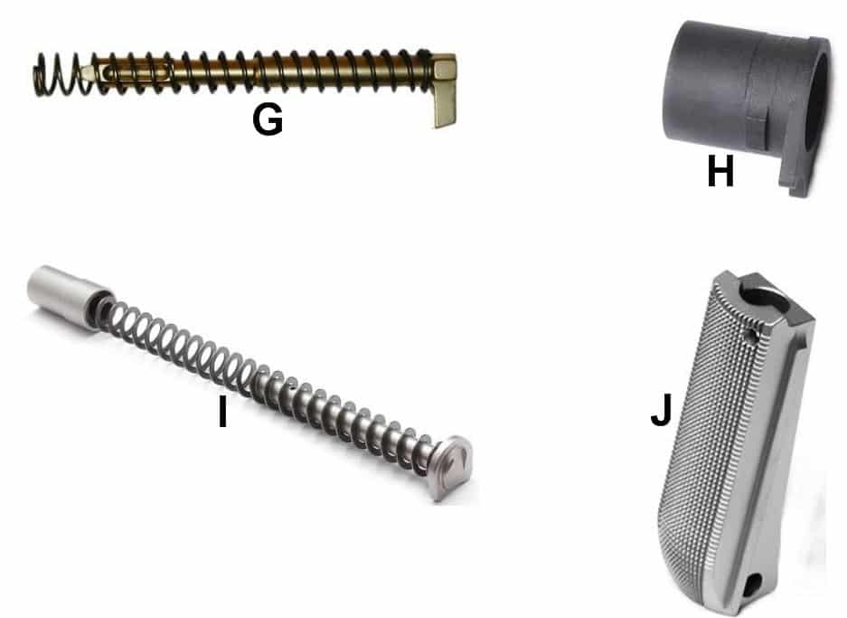 Quiz-4 Parts-G-Striker-H-Mainspring-I-Recoil Spring Assem.-J-Barrel Bushing