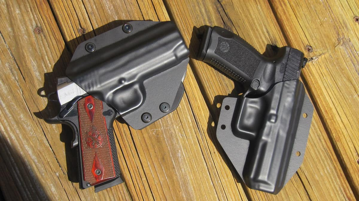 Alien Gear Cloak Mod OWB Holster (left) and Replaceable Kydex Shell with Canik TP9SA (right)