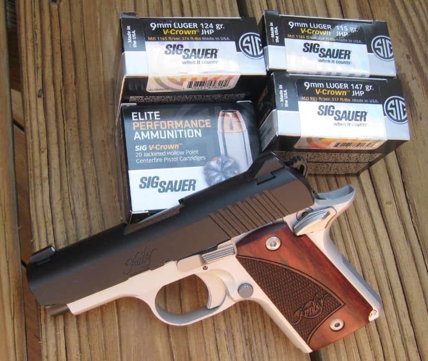Kimber Micro 9 Two-Tone 9mm Pistol & Sig Sauer Elite Performance V-Crown JHP 115, 124, & 147 Grain Ammo