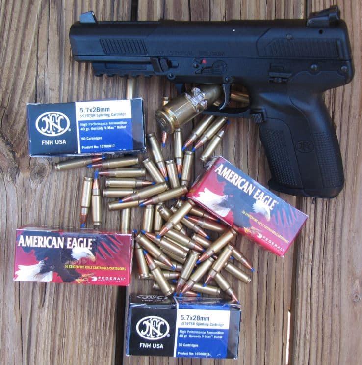 FN 5.7 Pistol with 40 Grain FNH USA Hornady V-Max Blue Tip & American Eagle AE5728A Ammo