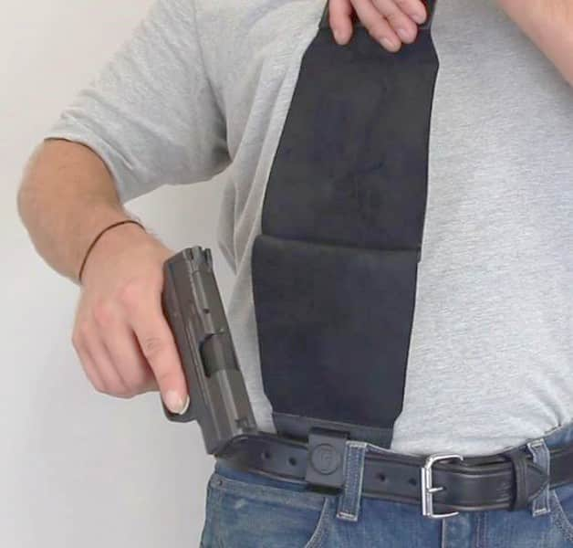Gun Access: Lift Flap from Front of Holster & quickly Pull It Up & Gun Appears
