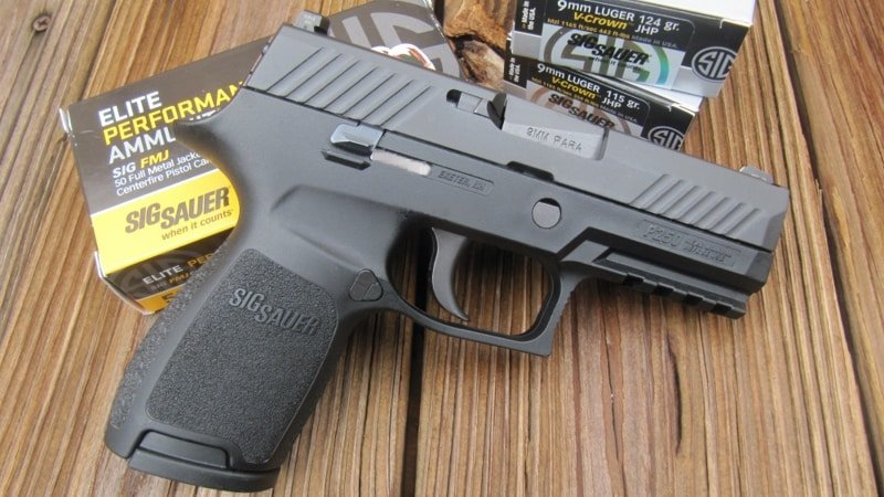 Sig P320 Compact 9mm with 320/250 Medium-Sized Frame and Sig Elite Performance & V-Crown Ammo